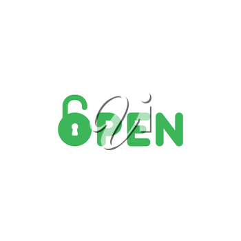 Flat design style vector illustration concept of green open text with green padlock icon on white background.