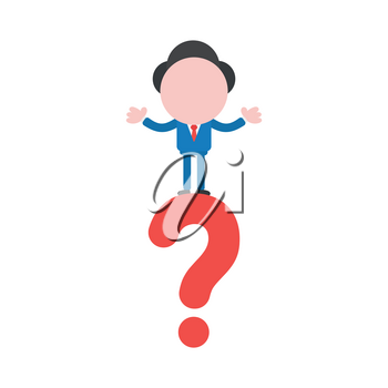 Vector cartoon illustration concept of faceless businessman mascot character on red question mark symbol icon.
