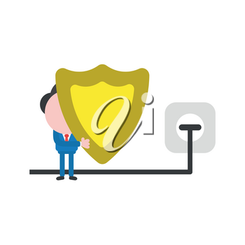 Vector illustration concept of businessman character holding guard shield icon with plug plugged into outlet.