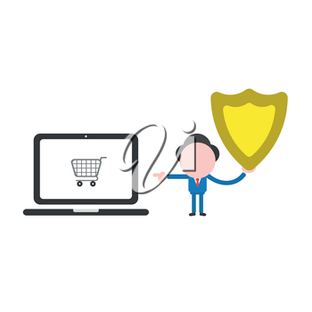 Vector illustration of faceless businessman character holding guard shield and pointing shopping cart inside laptop computer.