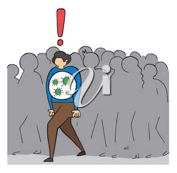 Hand drawn vector illustration of Wuhan corona virus, covid-19. The infected man is walking in the crowd.