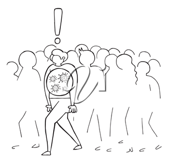 Hand drawn vector illustration of Wuhan corona virus, covid-19. The infected man is walking in the crowd. White background and black outlines.