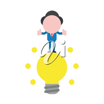 Vector illustration businessman mascot character standing on glowing yellow light bulb, good idea and giving thumbs up.