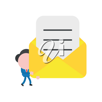Vector illustration businessman character walking and holding open mail envelope with written paper.