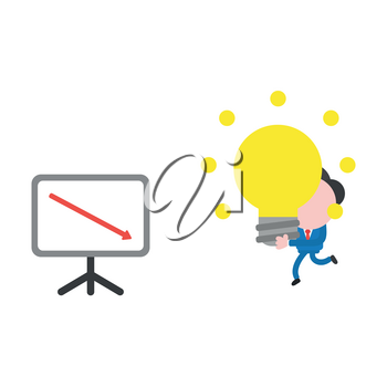 Vector illustration businessman character running and carrying glowing light bulb idea to sales chart moving down.