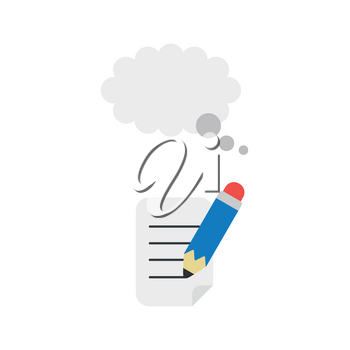 Flat design vector illustration concept of blue pencil writing on paper with grey tought bubble symbol icon.