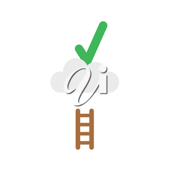 Flat design vector illustration concept of green check mark symbol icon on cloud with short wooden ladder.