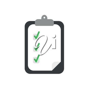 Flat design vector illustration concept of clipboard symbol icon with paper and green check marks.