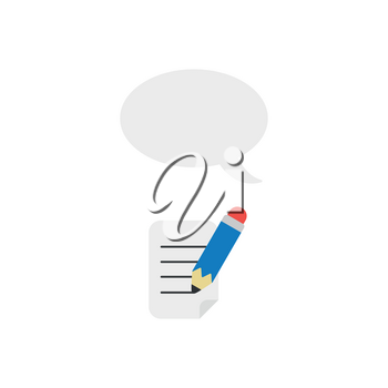 Vector illustration concept of blue pencil writing on paper with blank speech bubble icon.