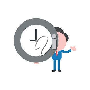 Vector illustration businessman character holding clock time.