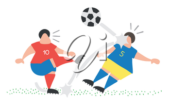 Vector illustration cartoon soccer player man kicking ball and hitting other player's face.