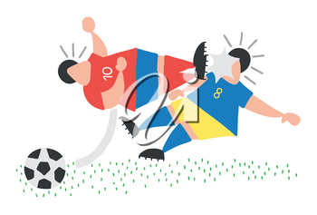 Vector illustration cartoon aggressive soccer player man flying kick to other soccer player's face.