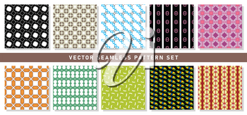Vector seamless pattern texture background set with geometric shapes in black, white, brown, blue, pink, red, purple, violet, yellow and green colors.