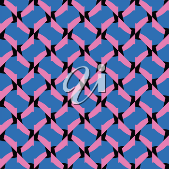 Vector seamless pattern texture background with geometric shapes, colored in blue, pink and black colors.