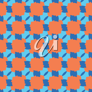 Vector seamless pattern texture background with geometric shapes, colored in blue and orange colors.