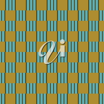 Vector seamless pattern texture background with geometric shapes, colored in gold, blue and green colors.