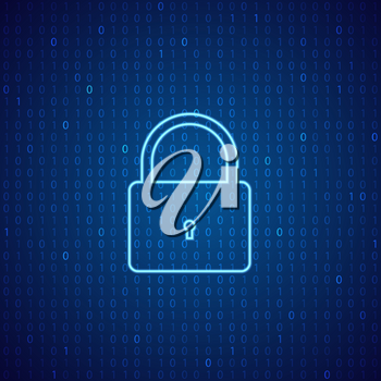 A lock on a digital background. The concept of cybersecurity. Vector illustration .