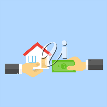Hand with money and hand with house. Sale of real estate. Vector illustration .
