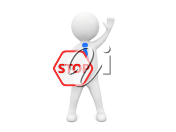 A man businessman stands with a stop sign and a raised hand to the top on a white background. 3d render illustration.
