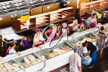 GOMEL, BELARUS - AUG 18: a meat market in Gomel, August 18, 2013. This is an example of existing food market in Belarus