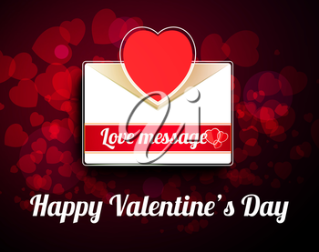Valentine mail message with heart and bokeh background