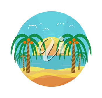 Tropical beach with palm trees. Planning a summer vacation, tourism and journey