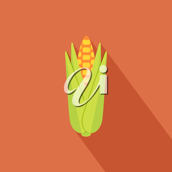 Corn icon with shadow in flat design