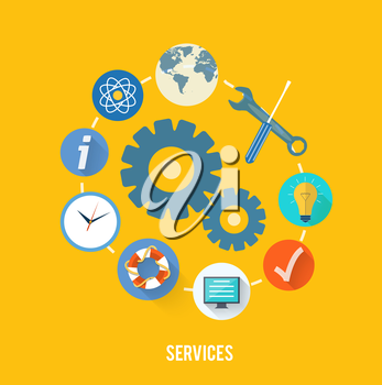 Set for web and mobile applications of office work. Service concept with item icons