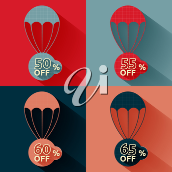 Set of parachutes with discount on multicolor background