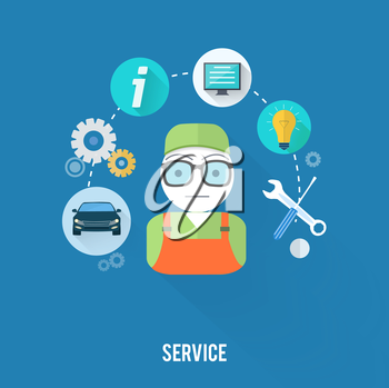 Set for web and mobile applications of office work. Service master concept with item icons