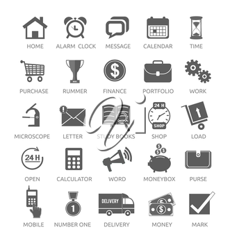 Icons for web and mobile applications on white background. Home, alarm clock, watch, message, calendar, time, purchase, rummer, winner, finance, portfolio and other item icons