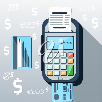 Cash mashines issues receipt of payment card on background with dollar sign flat design long shadow style