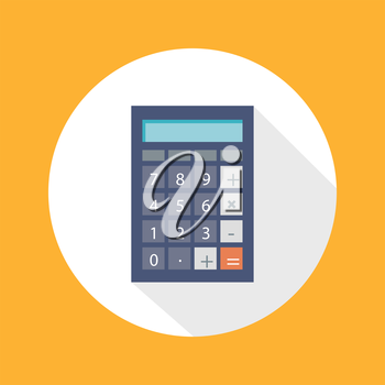 Calculator icon with mathematical symbols multiplication division plus minus construction flat design long shadow style