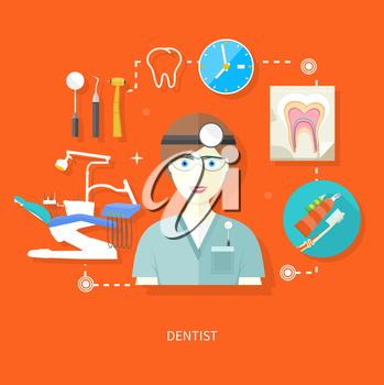 Profession concept with female general dental practitioner in uniform in the dentist office
