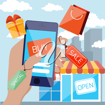 Flat design concept for mobile marketing and online shopping with hand holding smartphone with discount tags and touching button buy on urban background