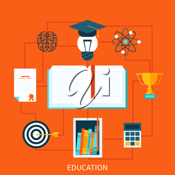 Flat design concepts of education and learning. Concepts for web banners and printed materials.
