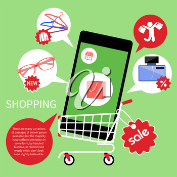 Concept for online shopping and e-commerce with shopping cart full of goods in smartphone with discount and colorless shopping pictograms