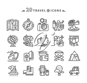 Set of black travel thin, lines, outline icons of summer vacation, tourism and journey. Items for travel in flat design on white background. For web and mobile applications