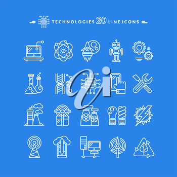 Set of technologies white thin, lines, outline icons for energy, robotics, communications, environment, aerospace, mechanical engineering on blue background. For web construction, mobile applications