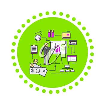 Concept of financial analysis icon flat. Business finance, market and report, marketing graph growth, data and management, presentation diagram and chart, money statistic illustration
