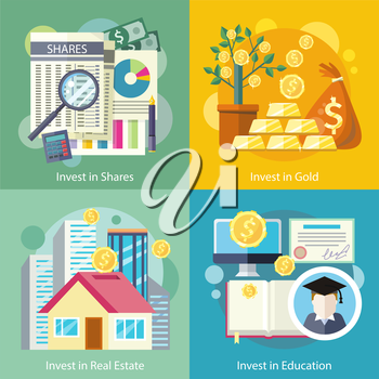 Concept of investment in education gold property. Finance business, wealth and money, financial bank, investing deposit, potential offer, invest market, banking economy development in flat design