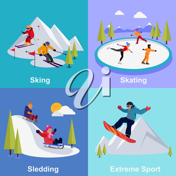 Active winter vacation extreme sports. Sledding and sking, skating and mountain, snow and recreation, travel outdoor, cold and holiday, snowboarder athlete illustration