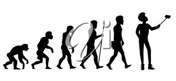 Concept of human evolution from ape to man. Development progress, primate growth, ancestor and mankind, caveman and neanderthal, mammal generation. Man doing selfie with monopod. Black and white