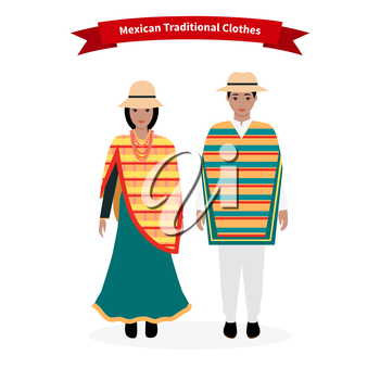 Mexican traditional clothes people. Man with hat, ethnic culture, costume for woman, dress native national, person lady character, tradition nationality clothing with pattern illustration