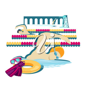 Swimming sport concept icon flat design. Water swim crawl in pool, man fitness, health athlete, swimmer and competition, person sportsman, professional activity. Swimming sport illustration