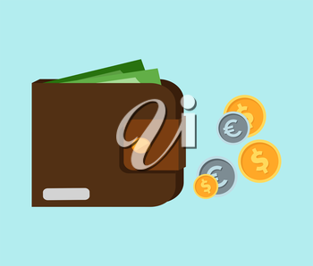Flat wallet with card and cash. Leather wallet with dollars, credit cards. Leather purse with banknotes. Brown wallet. Full wallet. Purse with money. Wallet filled up with money and plastic cards