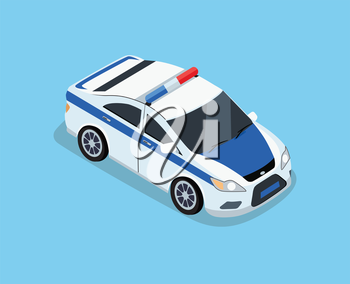 Flat 3d isometric high quality police car. Isometric police car top view. Isolated isometric police car. 3D isometric police car. Isometric blue and white police car icon. Vector police car