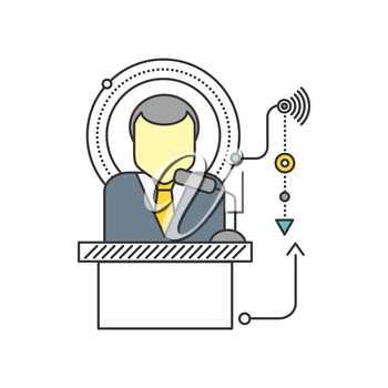 Orator standing behind a podium with microphones. Speaker makes a report to the public. Orator icon. Presentation and performance before an audience. Oratory, lecturer, business seminar orator
