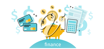 Finance concept banner design flat. Pig piggy bank with gold dollar coins. Financial documents and credit card calculator. Conceptual banner with finances to pay for items. Vector illustration