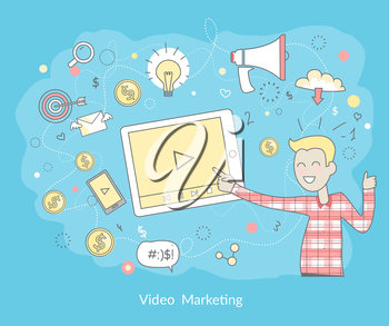 Video marketing. Approaches, methods and measures to promote products and services based on video. Video marketing business flat. Online video, internet marketing technology and media social marketing